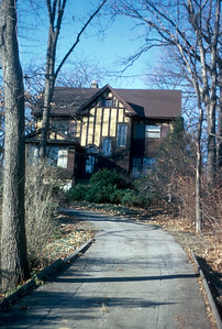 Exterior of Comely Bank, home of Paul and Jean Harris in Chicago, Illinois, USA. 1982.