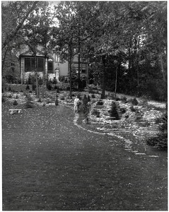 "Jean Harris in her yard at Comely Bank in Chicago, Illinois, USA. Appeared in ""The Rotarian,"" February 1935, p.4, and April 1968, p.23."