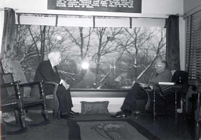 Silvester Schiele and Paul Harris at a reunion of the earliest members of the Rotary Club of Chicago at Comely Bank. December 1942.