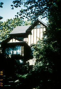 Exterior of Comely Bank, home of Paul and Jean Harris in Chicago, Illinois, USA.