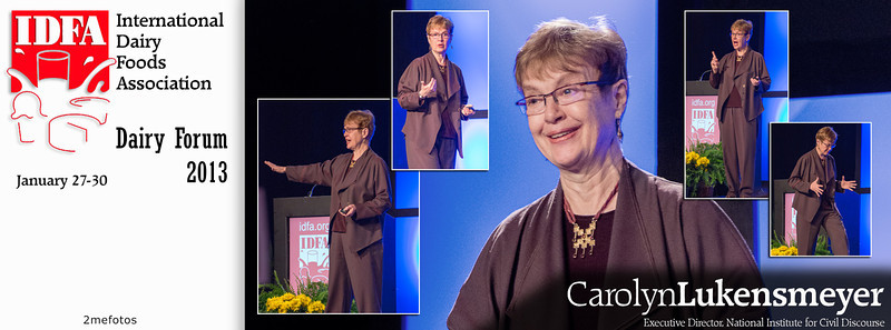 Carolyn Lukensmeyer speaking at IDFA (International Dairy Foods Association), Dairy Forum 2013, Florida