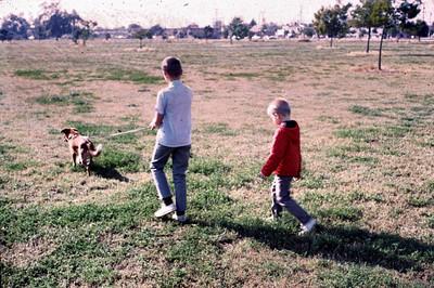 Tippy walking John and Gary