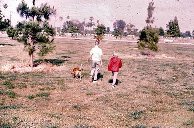 John and Gary walking Tippy