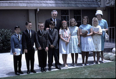 Group of kids at Downey SDA church. Known names: Kathy Edberg (center), Miss Johnson (far right). Please add a comment if you know who any of the others are.