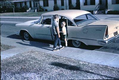 Gary helps John into the Plymouth at Rancho.