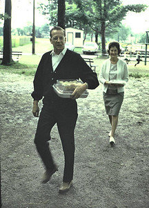 Bud and Lucille arrive at family reunion at Allen Park, Jamestown, NY