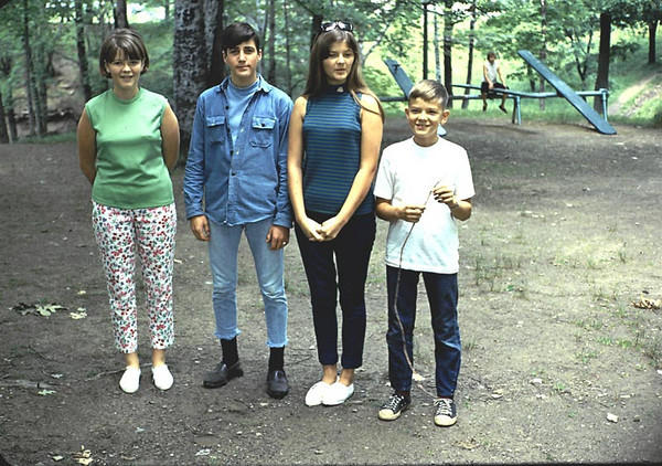 Kathy, Craig, Linda and Gary - Family reunion at Allen Park, Jamestown. Nice pants Craig!