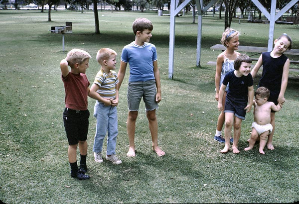 Gary, John and friends at a picnic in Downey. This was a farewell party for the Sorensens and the kids are the Teals and the Sorenson girl. Anyone know their names? If so, please post to the forum.