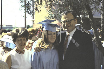 Graduation Day for Kathy. We met with the Cowans, my mom and Ethel Newman at our house later as well as many other people.