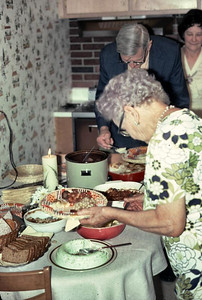 This was a get together at Shirleys house. This shows Evald, Lucille and her mother Mrs. miller.