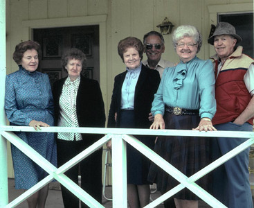 This was taken at the Tague home in Porterville CA. Roberta Cossentine, Pat, Doris McMillon Mac, Verdadee and Carl Tague.