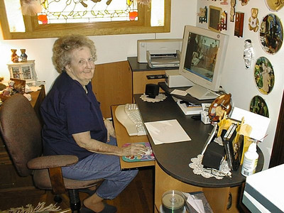 Mom at her PC - November, 2001