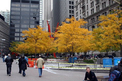 This is Zuccotti Park in lower Manhattan taken on November 1, 2009 two years before it got famous as the epicenter of the Occupy Wall Street movement which started on September 17, 2011.