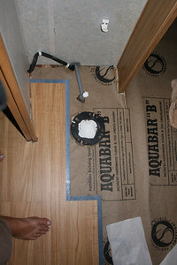 The Flooring project is underway. After fully stripping out all existing layers of flooring to the subfloor, Trafficmaster Allure vinyl flooring in kitchen, hallway and bath. Carpet will be replaced in the living room and bedroom.
