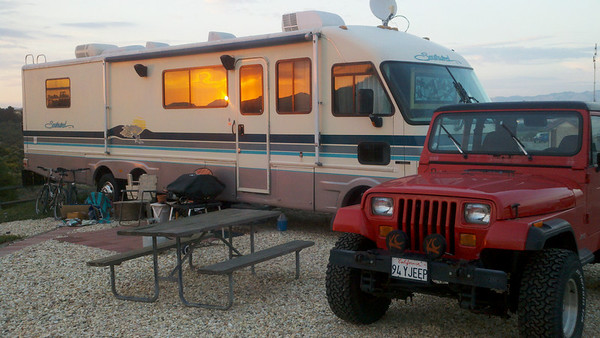 Sunset light - our spot at Pacific Dunes Ranch RV Resort, Oceano, CA
