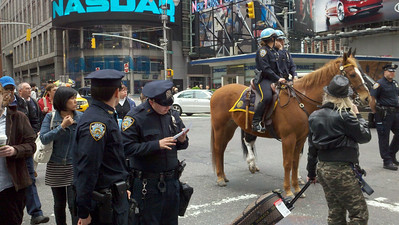 Police presence in Times Square the day after Osama Bin Laden was killed