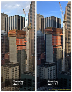Before and after shots, one week apart. Two more floors added and the crane was raised by 5 new sections.