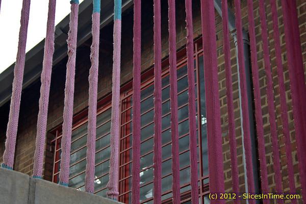 Walk over the Williamsburg Bridge - New York, NY - April 14, 2012 - Knit bombing under the bridge.