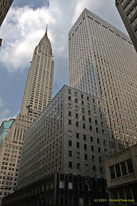 The historic Socony-Mobil Building with the Chrysler Building in the background on Lexington Avenue, New York, NY