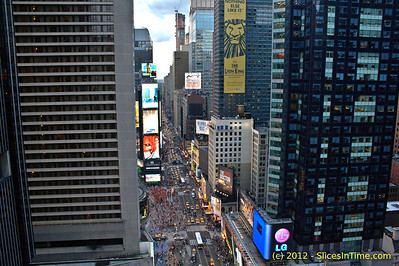 """7th Ave looking north from the 25th floor of the Paramount Building in Times Square on July 27, 2012. Notice the new highrise """"One57"""" in the distance."""