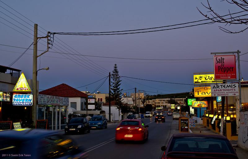 The Stripe at dusk - main road through Kato Stalos