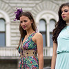 Young on old backcround<br /> Outdoor fashion show during festival days