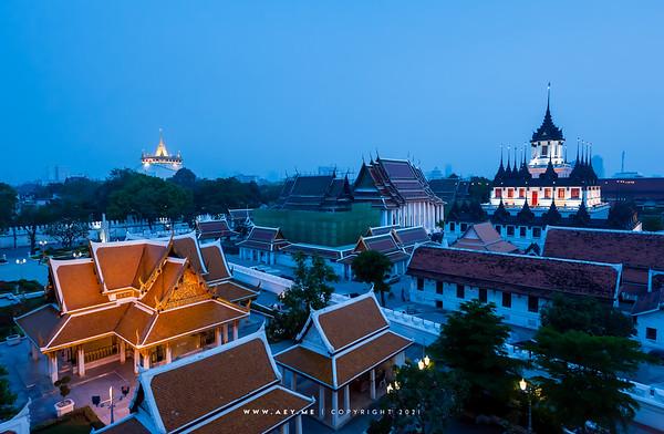 Loha Prasat, Wat Ratchanatdaram, Phukhao Thong, Wat Saket & Maha Chetsadabodin Pavilion view from Rattanakosin Exhibition Hall