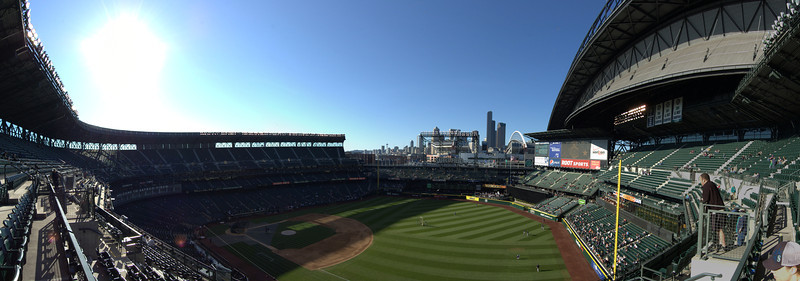 """Panorama of Safeco Field in Seattle.<br /> View the full version: <a href=""""http://photos.kevinworkman.com/Pictures/2011/i-j9pKtkD/1/O/BaseballPanorama7.jpg"""">http://photos.kevinworkman.com/Pictures/2011/i-j9pKtkD/1/O/BaseballPanorama7.jpg</a>"""