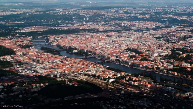 Arial view - Prague and the Vltava river