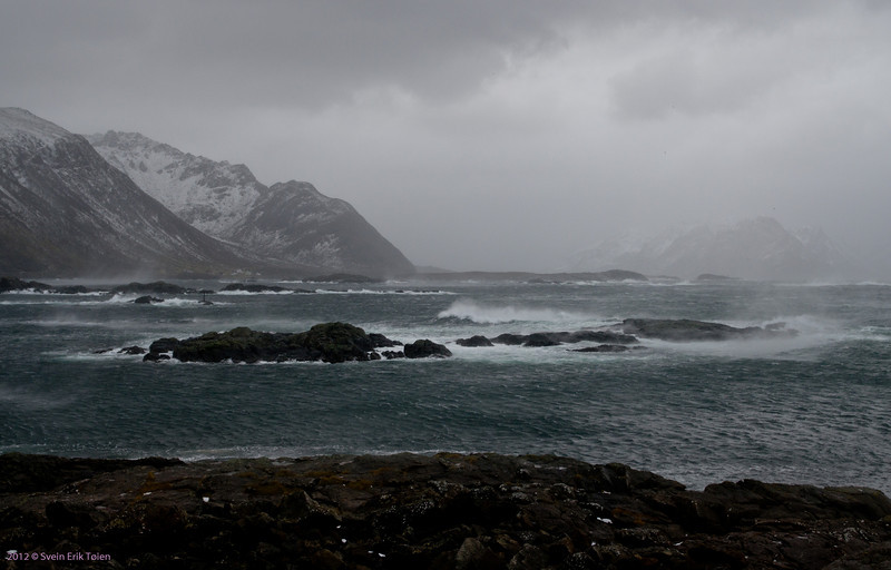 Autumn storm in Nyksund - whipped waters in Prestfjorden