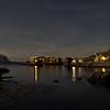 Town in the ocean - moonlit night