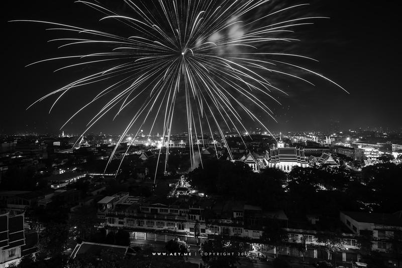 Fireworks on the King Bhumibol Adulyadej's Birthday in 2012