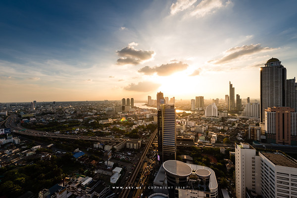 Sunset scene of Bangkok Cityscape view from Mode Sathorn