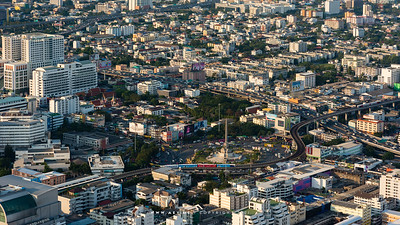 Victory Monument & Bangkok Cityscape view from Baiyoke Sky Hotel