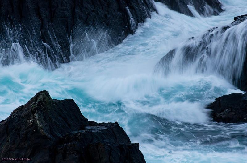 Sea whitewater III - breakers washing into Skjerpingan sound, Nyksund