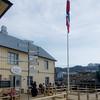 Still day - the flag at Nyksund Gjestehus hanging straight down