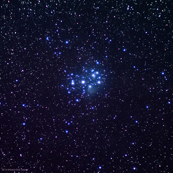 Pleiades, shot with Pentax A135mm, cropped. Stack of 10 images.
