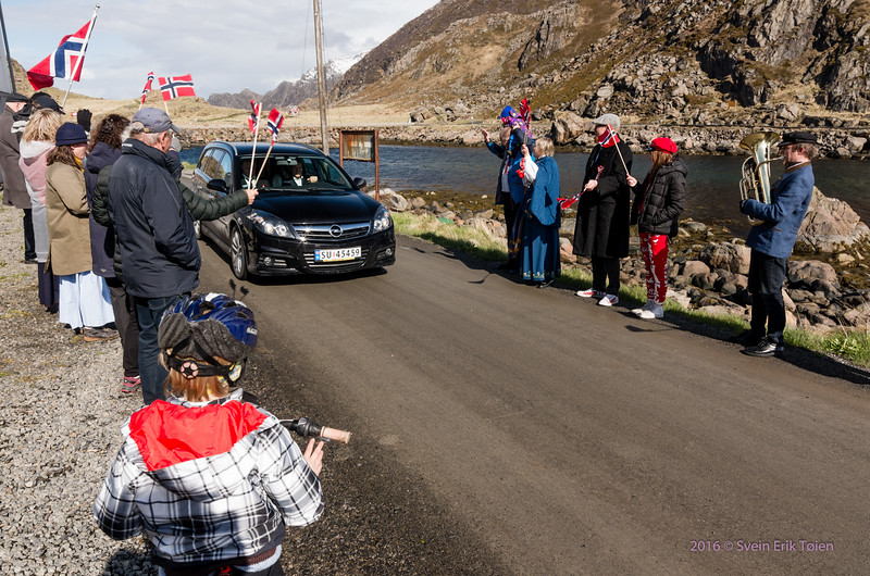 Visitors to Nyksund are merrily greeted by the parade