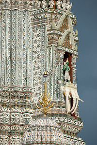 Indra God on Erawan Elephant (Airavata) in the Roofed Niche of the Main Prang of Wat Arun Ratchawararam (The Temple of Dawn)