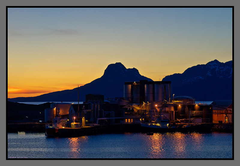 April evening over the herring oil plant<br /> Bodø