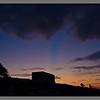 FArmhouse silhouette - blue stripe from a cloud