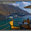 A busy moment at Loutro bay - however, at Christinas Café there is peace and relaxation