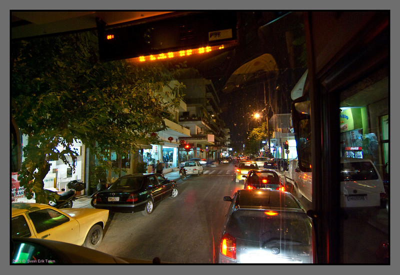 Center Chania at night - traffic is dense.