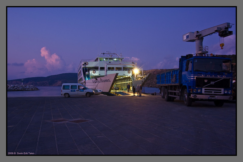 "The ferry ""Daskalogiannis"" has spent the night at Karave. The crew are starting the day early - departure is at 07:30."