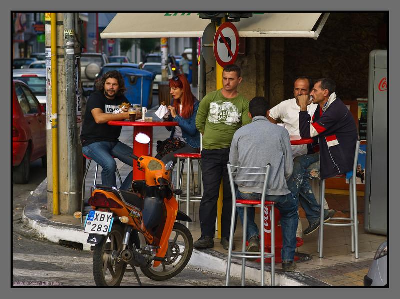 Early morning at a corner bar