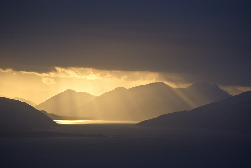 Sunbeams over the Beiarn sound