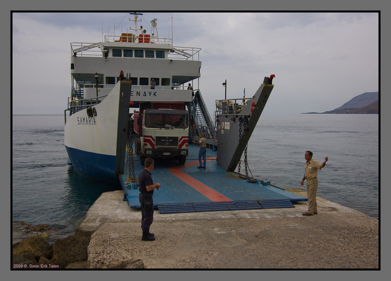 "The happy little ferry ""Samaria"" - carrying heavy cargo to the villages on the south coast, and to Gavdos"