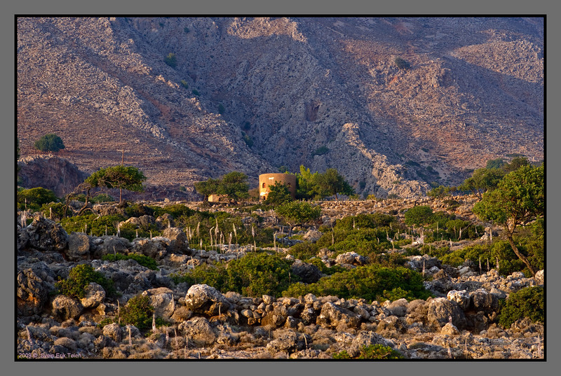Farmhouse on the hilltop west of Loutro - housing one of the few families staying all year round