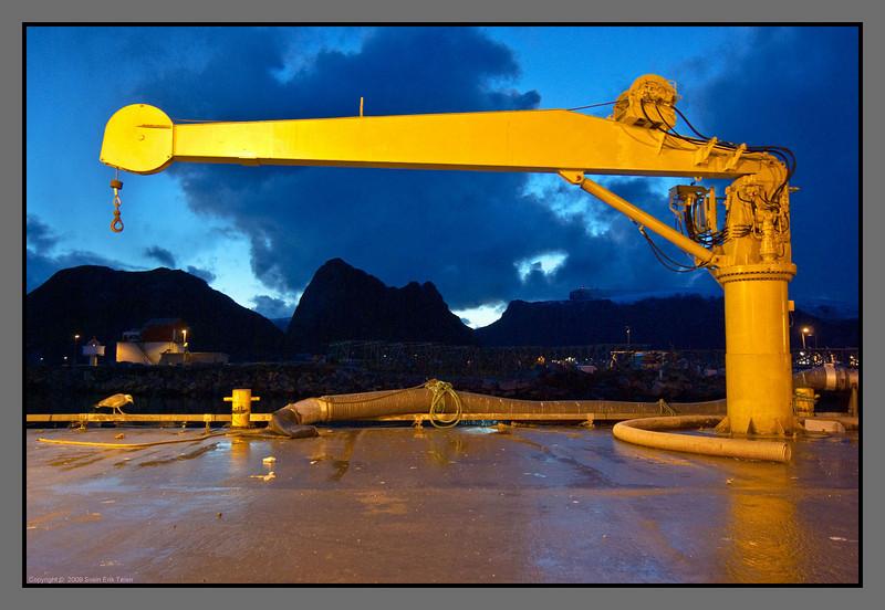 Evening stroll under the crane (look close)<br /> Røssnesvågen, Værøy