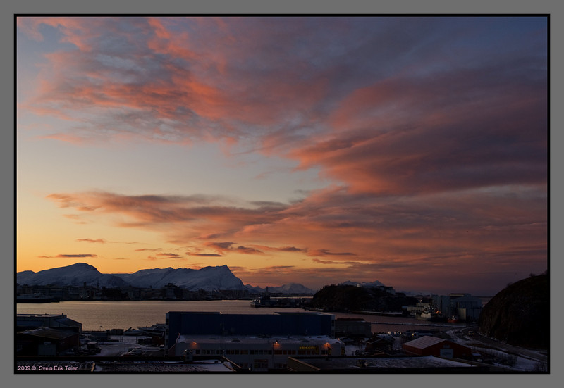 Mid day sky<br /> The town bay, Bodø